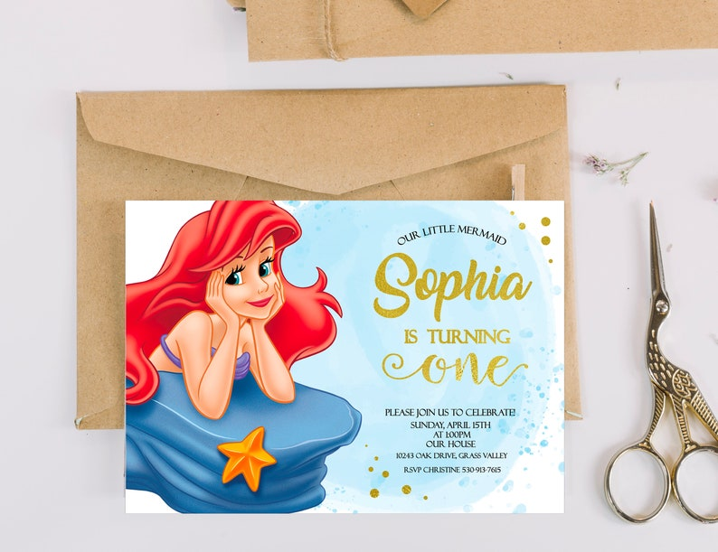 Ariel Birthday Invitation The Little Mermaid