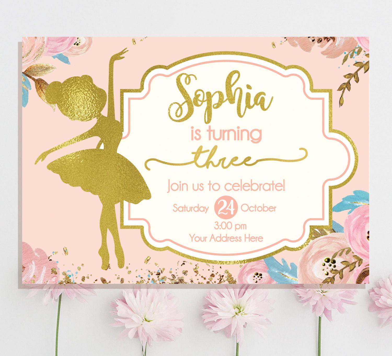 ballerina birthday invitation Ballerina Invitation | Etsy