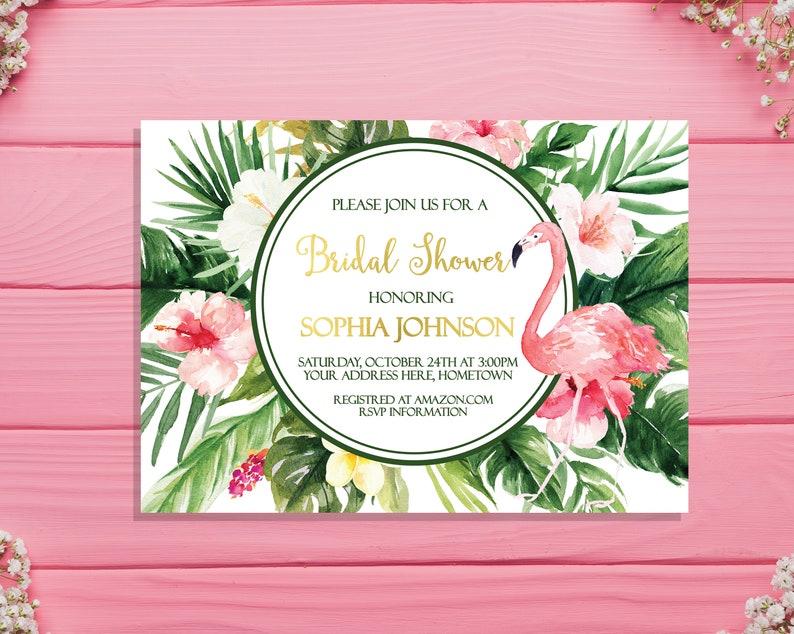 db9a92c5f2eda Tropical bridal shower invitation Flamingo bridal shower