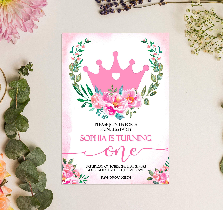 Princess Birthday Invitation Floral Royal Princess Birthday | Etsy