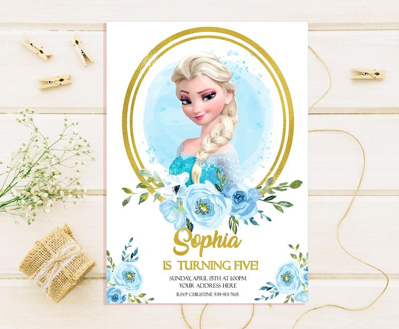 Elsa Birthday Invitations Elsa Birthday Party Invites Frozen Etsy