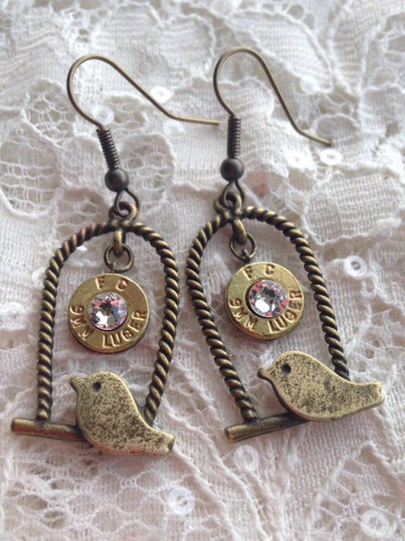 9mm Bullet and Bird on a Swing Brass Earrings with Swarovski Crystals,  Womens jewelry, Upcycled bullets, Bullet jewelry