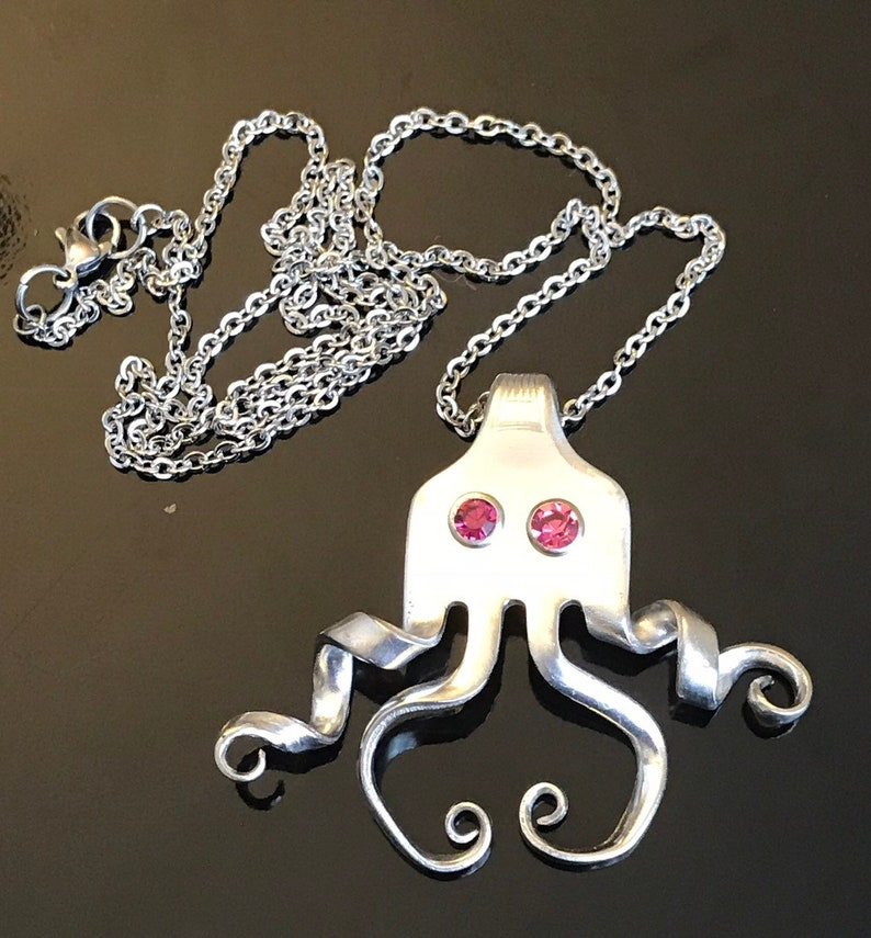 Children,s jewelry Vintage Silver Plated Fork Octopus Necklace with Crystal Rivet Eyes Women/'s necklace Handcrafted jewelry Recycled