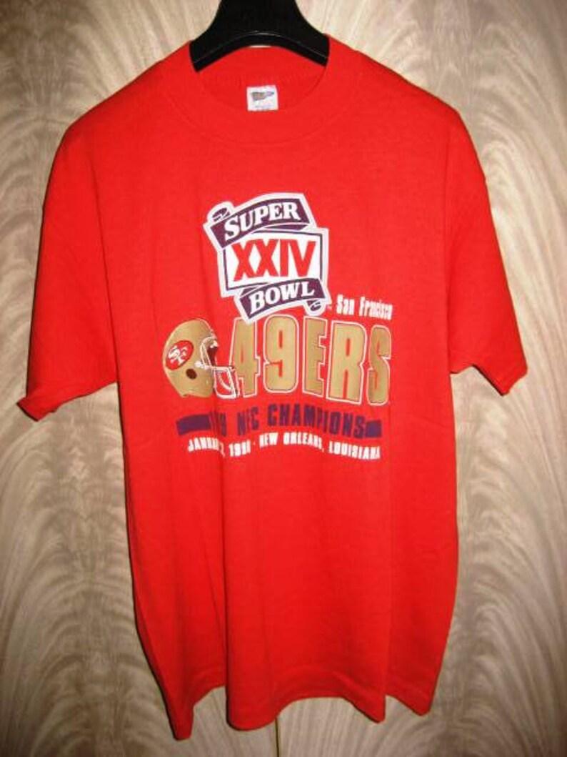5a6cebb8d Vintage 1990 San Francisco 49ers Super Bowl XXIV T-Shirt by