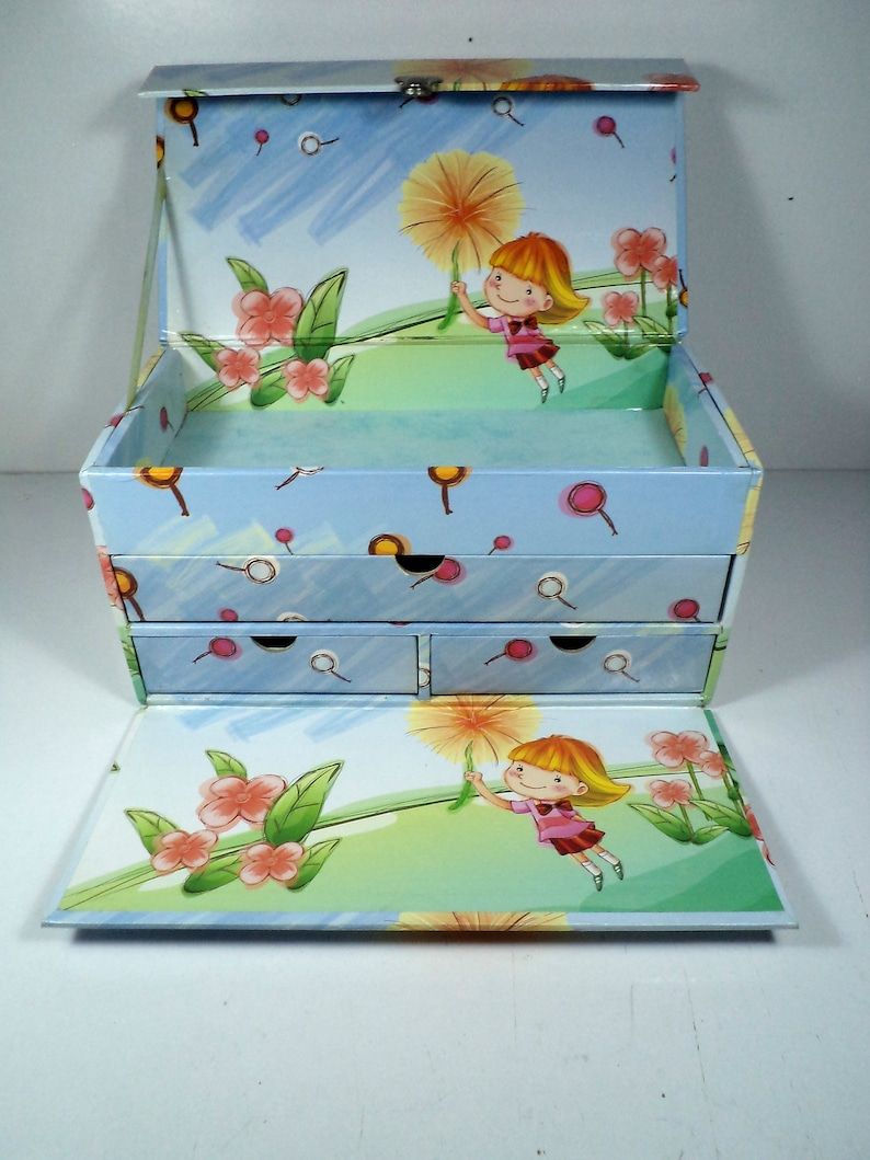 Bits and Bobs Carry Case Hardboard with Card and Wipe Clean Vinyl Transfer Girl/'s Jewelry Storage Carry Box Pre-owned Very Good.