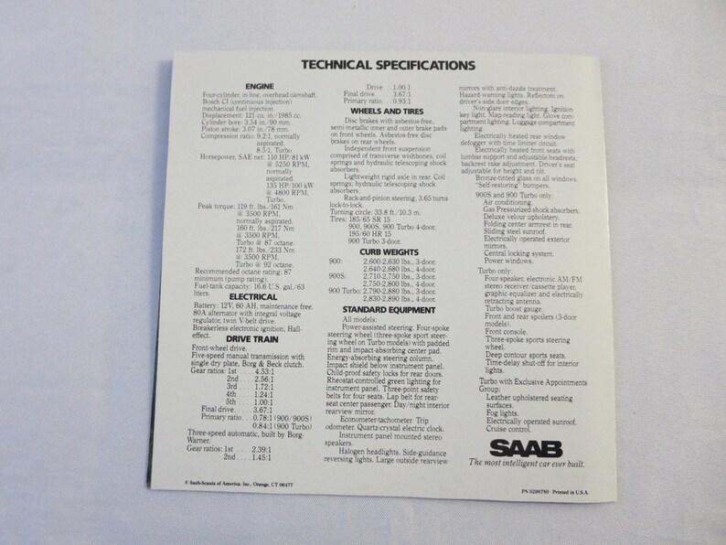 1984 Saab 900 Sales Brochure Catalog Advertising - 900 S 900 Turbo