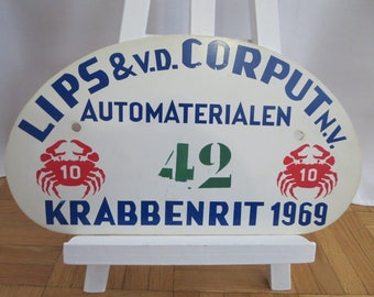 Vintage 1969 Krabbenrit Car Club Rally Plate Plaque Sign Rallye #42 Plastic Authentic