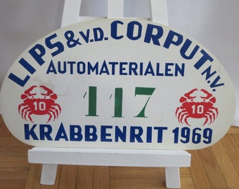 Vintage 1969 Krabbenrit Official Car Club Rally Plate Plaque Sign Rallye Crab #117 Plastic Authentic