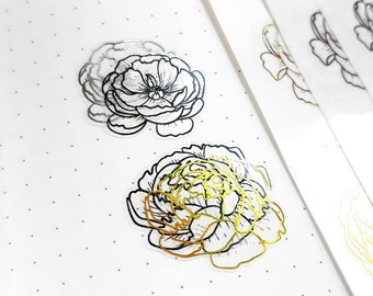 Foiled Floral Overlays | Flower Planner Stickers