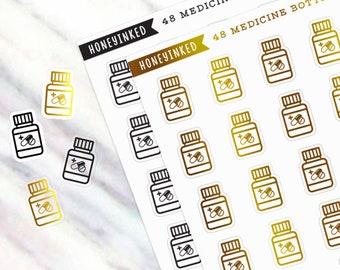 48 Medicine Planner Stickers, Medicine Stickers, Pills Stickers, Medicine Bottle, Prescription Stickers, Prescription Bottle