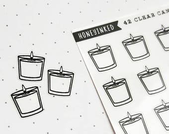 42 Clear Candle Stickers, Candle Light Stickers, Erin Condren Planner Stickers for use in Erin Condren Lifeplanner™