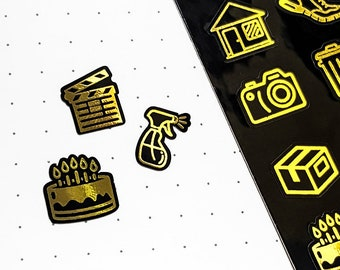 56 Gold Weekly Icon Planner Stickers | Planner Stickers Gold