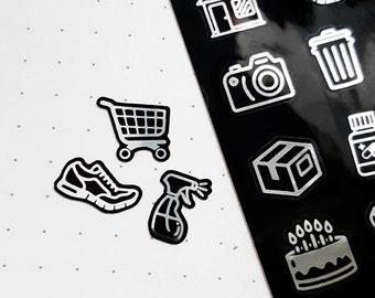 56 Black & Silver Weekly Icon Sticker Sheet