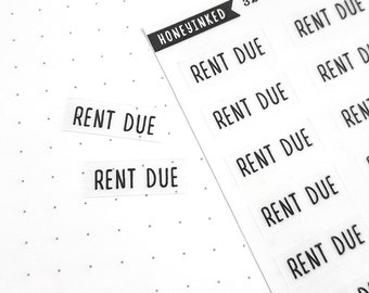 32 Rent Due Planner Stickers | Rent Due Stickers