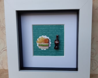 Miniature Food Wall Decoration, Sandwich and Drink, Lunch Time Food, Polymer Clay Artwork