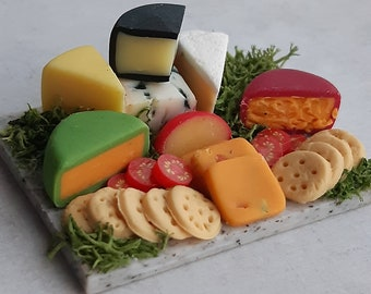 Cheese board, dollhouse food 1:12 scale, grazing board for dolls house, polymer clay food