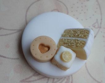 Polymer clay needle nanny, sewing and needlework accessory, lemon cake needle minder