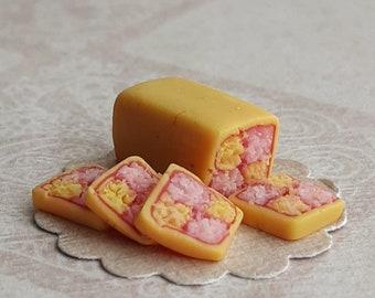 Dollhouse scale battenburg cake, miniature food in one inch scale