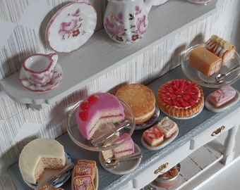 Dollhouse kitchen miniature shadow box with cakes made from polymer clay, decorative frame for your home,