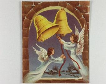 two glad tidings angels ringing bells vintage 1950s pollyanna christmas greeting card - Christmas Pollyanna