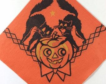 Spooky Halloween Black Kitty Cat Kitten & JOL Pumpkin Vintage 1940s Unused Dennison Paper Napkin