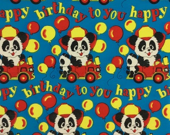 Fire Engine Riding Panda Bear Vintage Original 1950 Happy Birthday Gift Wrapping Paper
