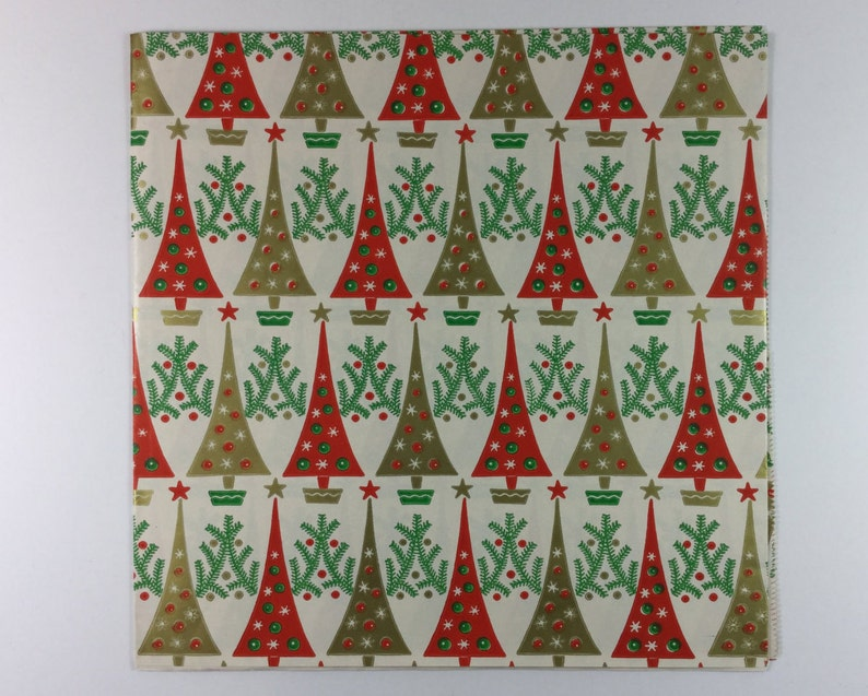 Art Deco Retro Red /& Gold Christmas Tree Vintage Original 1940s Gift Wrapping Paper