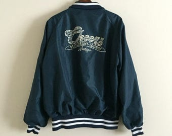 Vintage Cheers Restaurant and Lounge Bar Sports Jacket / Men's Satin Blue and White XL Athletic Windbreaker Coat