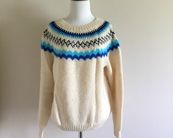 Handmade Vintage Knit Sweater / Women's Large Christmas Holiday Sweater / Royal, Navy Blue, Aqua, and White