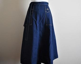 1970's Vintage Denim Maxi Wrap Skirt | Women's XS Size 0 | Body Lingo Tie Skirt with Pockets
