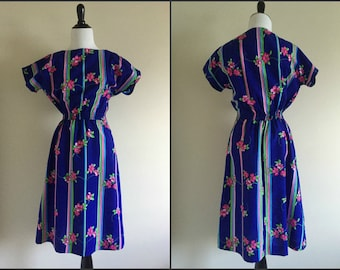 1970's Blue and Pink Floral Striped Hawaiian Dress / Medium Vintage Dress