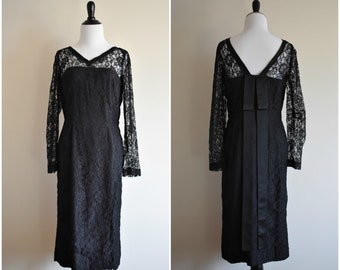 1960's Vintage Black Lace Dress | Women's Size 4 or 6, Small/Medium