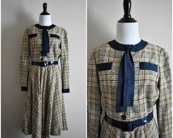 1960's Vintage Plaid Shirtwaist Dress with Tie and Belt | Paule Nelson for I. Magnin & Co. | Casual Women's Size 6 Small | Blue and Tan