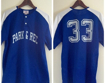 Royal Blue and White Mesh Retro Park & Rec Athletic Jersey / Number 33 / Men's Large / Women's XL