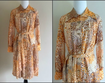 1970's Orange, Blue, Brown, and Gold Polka Dot Long Sleeve Button Up Fall Dress / Woman's Small