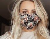 SUGAR SKULL Day of the death Face Mask washable, double layer, pocket for filter cotton