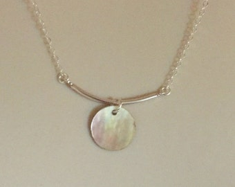 Subtle Curved Bar Necklace with Shell Accent