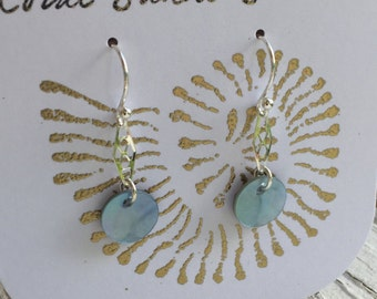 Sterling Silver & Blue Capiz Shell Earrings with Silver Accent