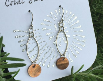 Sterling Silver Brown Capiz Shell Earrings with Oval Accent