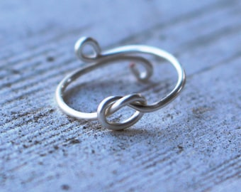 Nautical Knot Silver Wire Knuckle Ring