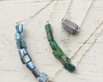 Blue Mother of Pearl Bead Necklace with Gold Chain