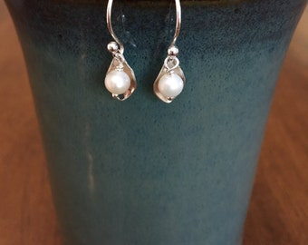 Delicate Sterling Silver and Pearl Earrings