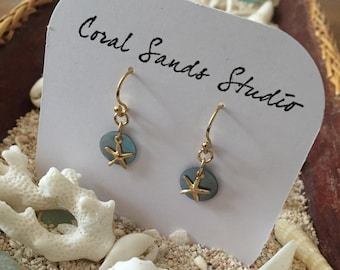 Blue Capiz Shell Earrings with Gold Starfish Accent