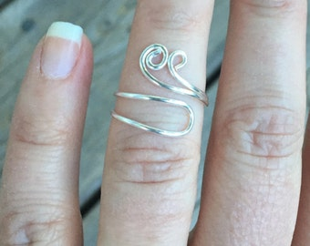 Unique Double Wrap Wire Knuckle Ring with Curls