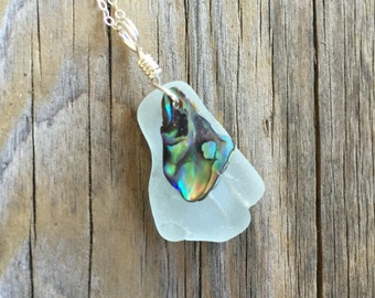 Sea Glass and Shell Necklace with Silver Chain