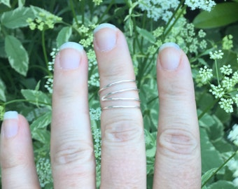 Asymmetric Double Wrap Gold or Silver Wire Knuckle Ring