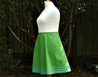 Cotton Skirt, Knee Length Skirt, Floral Skirt, Embroidered, 50s Style Skirt, Skirt, 50s Skirt, Cotton, Blue Flowers, 50s, Green Cotton, 16