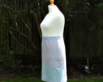 Floral Skirt, Painted Skirt, Cotton Skirt, Knee Length Skirt, Womens Skirts, Vintage, Hand Painted, Skirt, 50s Style Skirt, Pink Flowers,