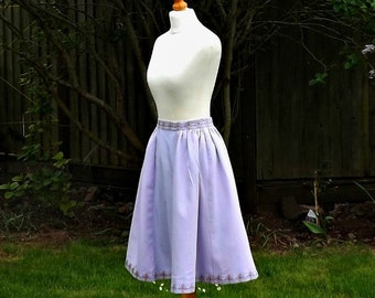50s Style Skirt, Cotton Skirt, Embroidered, Purple Linen, Knee Length Skirt, Skirt, 50s Skirt, 50s, Vintage, Floral Skirt, Size 6