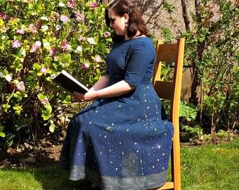 Hand Painted, Night Sky Dress, Vintage Style Dress, 50s Midi Skirt, Night Sky, Cotton Dress, Navy Dress, 50s Style, Midi Skirt, Circle Skirt